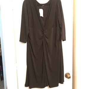 Fashion Bug Long Sleeve Black Knot Front Dress 2X